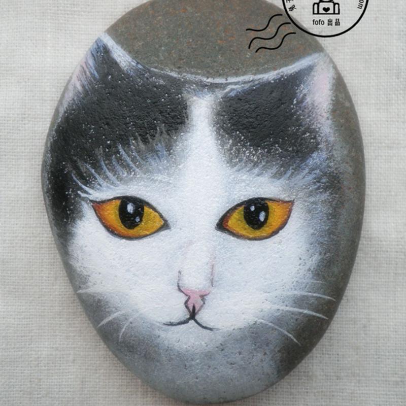 手绘石头,猫.