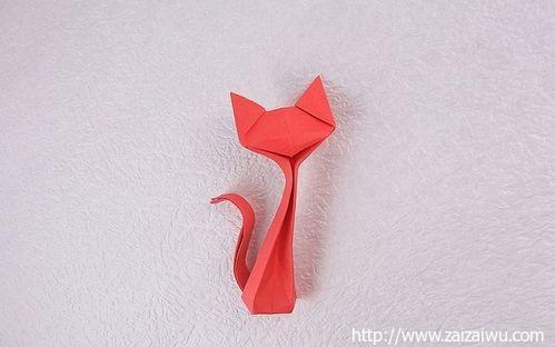 少儿手工折纸 简单立体的纸小猫咪【详细图解】