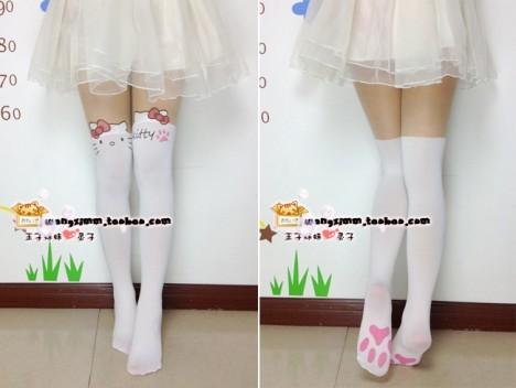 kitty蝴蝶结白色徦高筒丝袜