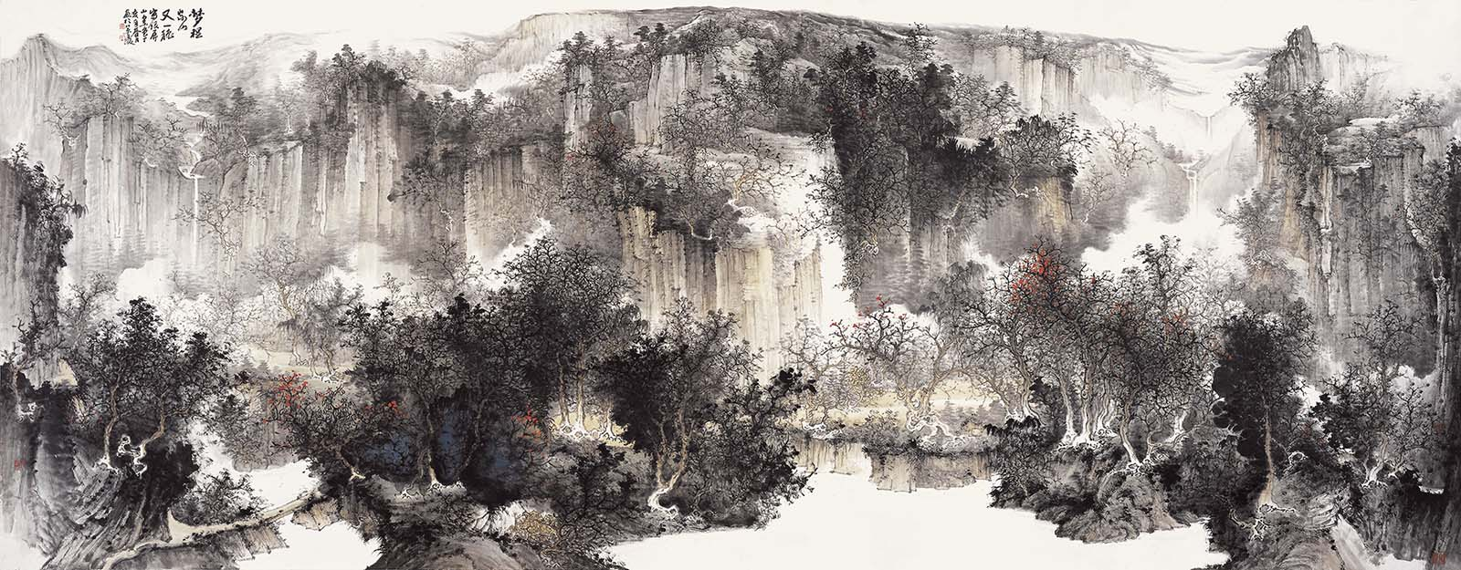 216x144cm 周逢俊的山水画以纯水墨或浅绛山水为主,诗情氤氲,古意盎然。古代画家往往写他的家乡山水,因而形成了他自己独到的风格和技巧。(黄宾虹语)周逢俊曾经游览过祖国各地的名山大川,家乡的山水仍然是他的最爱。他说:我的画多半取自家乡的山水题材。若不描绘自己热爱、感受最深的生我养我的故乡的景色,实在是浪费。清气、野逸是我追求的风格。(《松韵堂访谈录》)他的山水画《梦里家山又一秋》、《家在银屏云水间》、《家山秋之韵》、《秋崖隐读图》、《故乡诗意》、《银屏山雾雨》等大量作品,都是描绘他的故乡的景色。