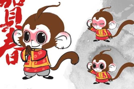 """以""""猴""""的形象为基础,特别设计其发型,尾巴和服装等细节,并拟人化的加"""