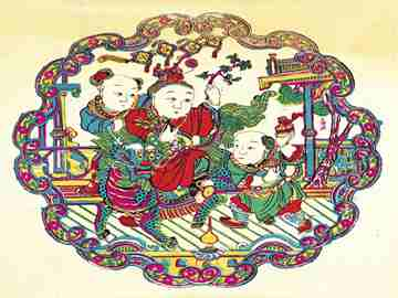我国传统的年画,多为木刻水印