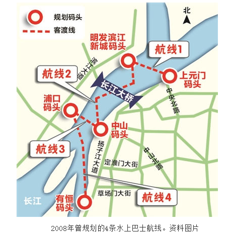 由于水上巴士线路大多横跨长江