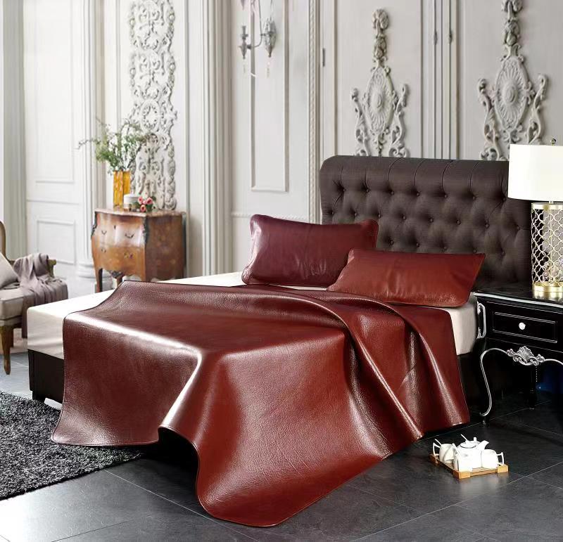 素色天然牛皮席三件套-本色、灰色