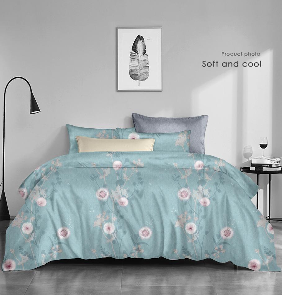 全棉醇淨暖絨床蓋四件套-惠馨(粉)、(藍)