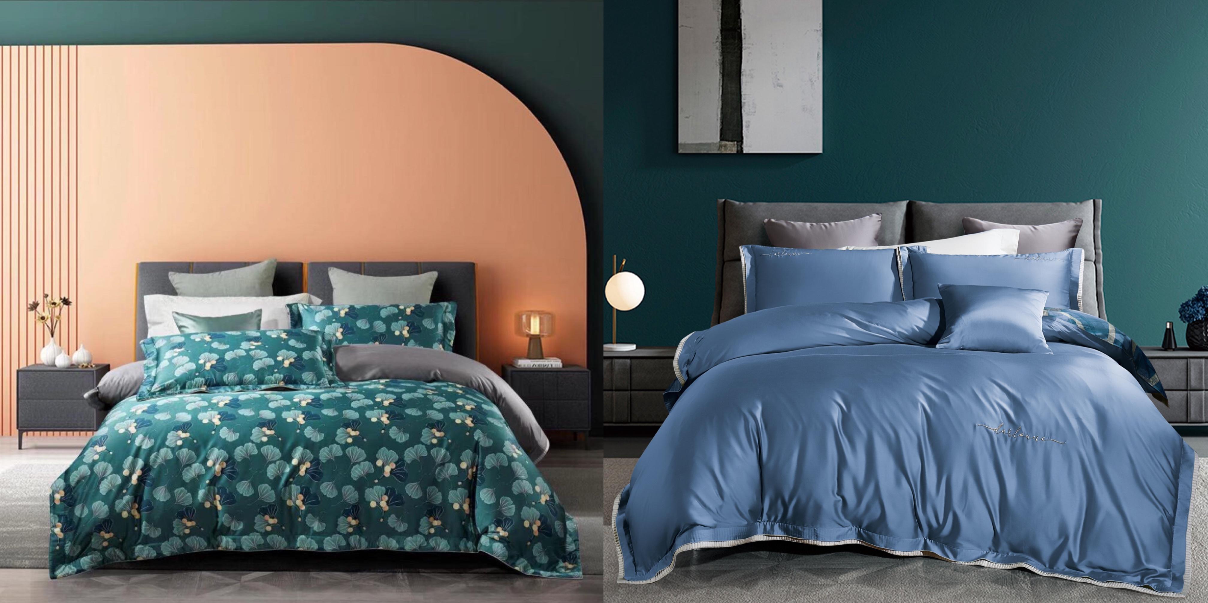 天絲床蓋雙麵款四件套-杏語嫣然&綠