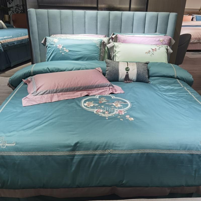 雙股百支棉床蓋四件套-西窗花語(藍)