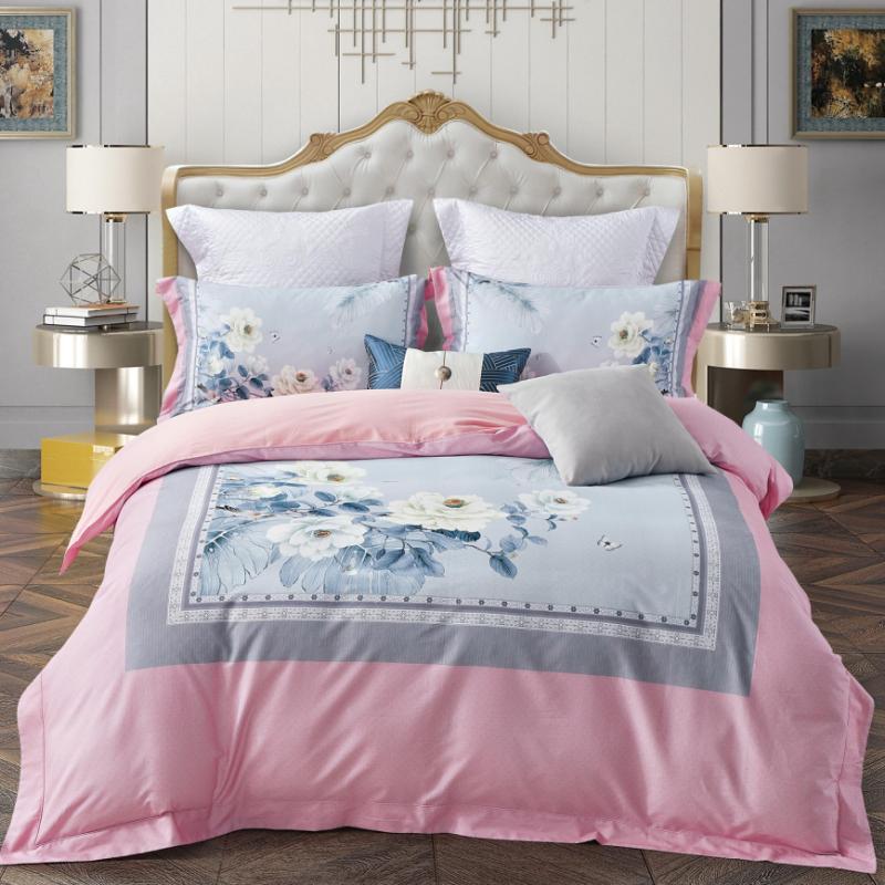 暖雲絨100支數碼床蓋四件套(花開綻放)