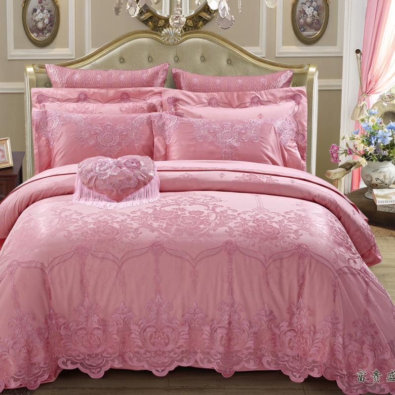 絲棉提花床蓋六件套--富貴盛宴