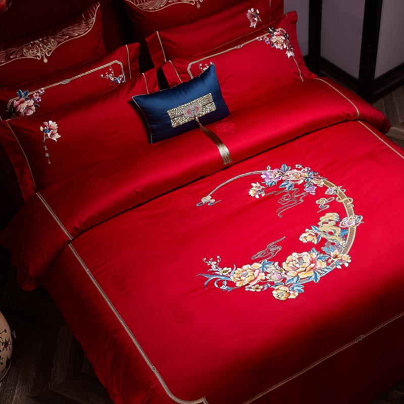 百支棉錦提花床蓋六件套(百年好合)