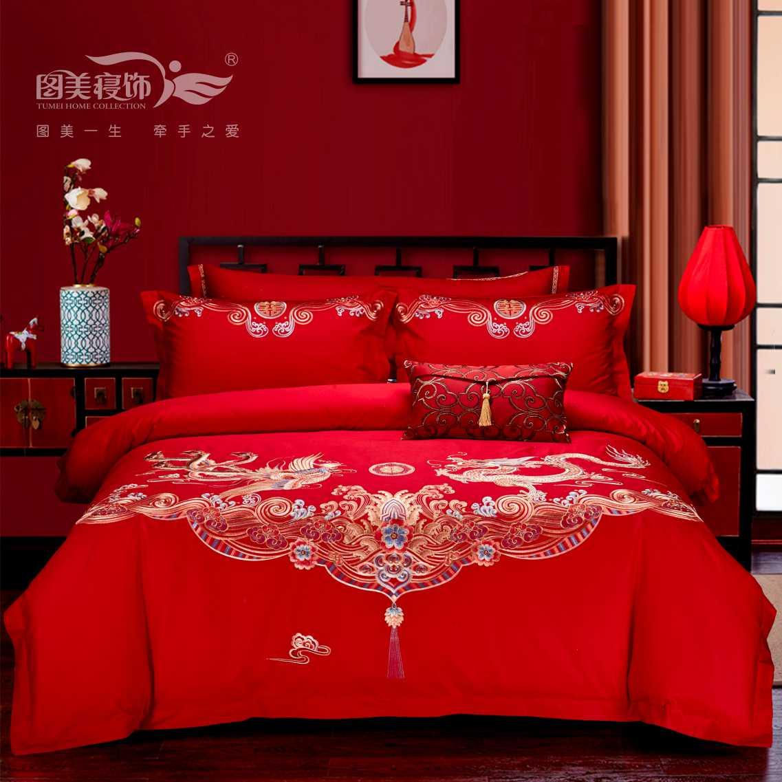 全棉素繡床蓋五件套-龍鳳祥和