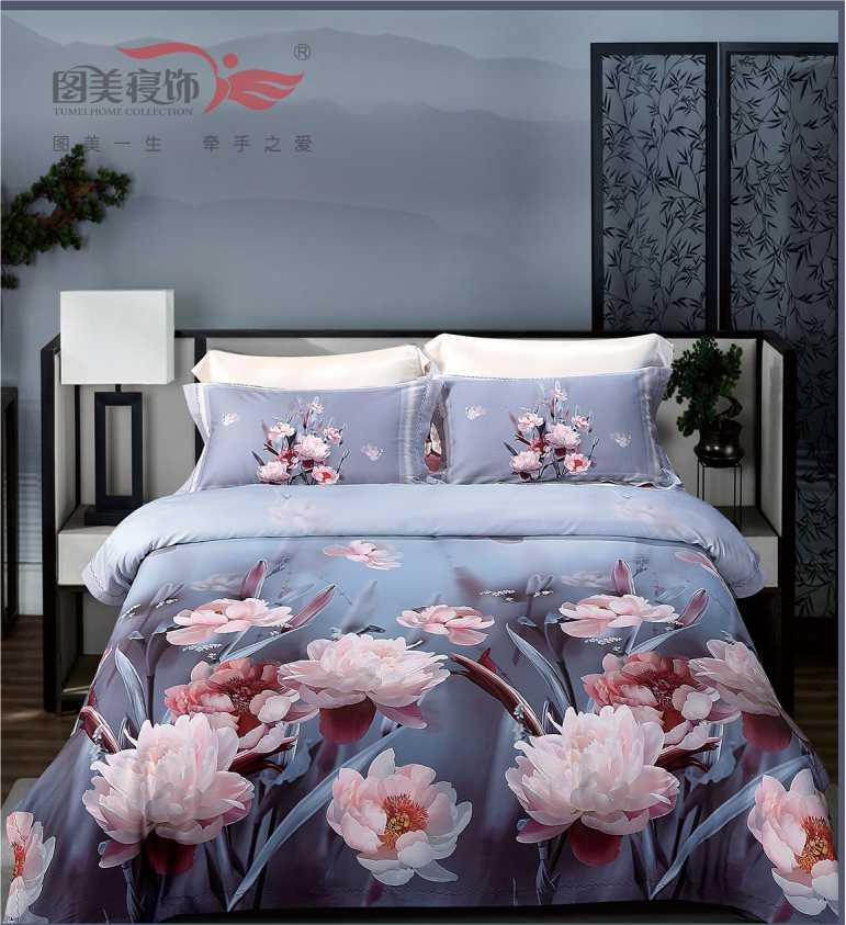 100支臻維棉數碼床蓋四件套-華爾茲(灰藍)