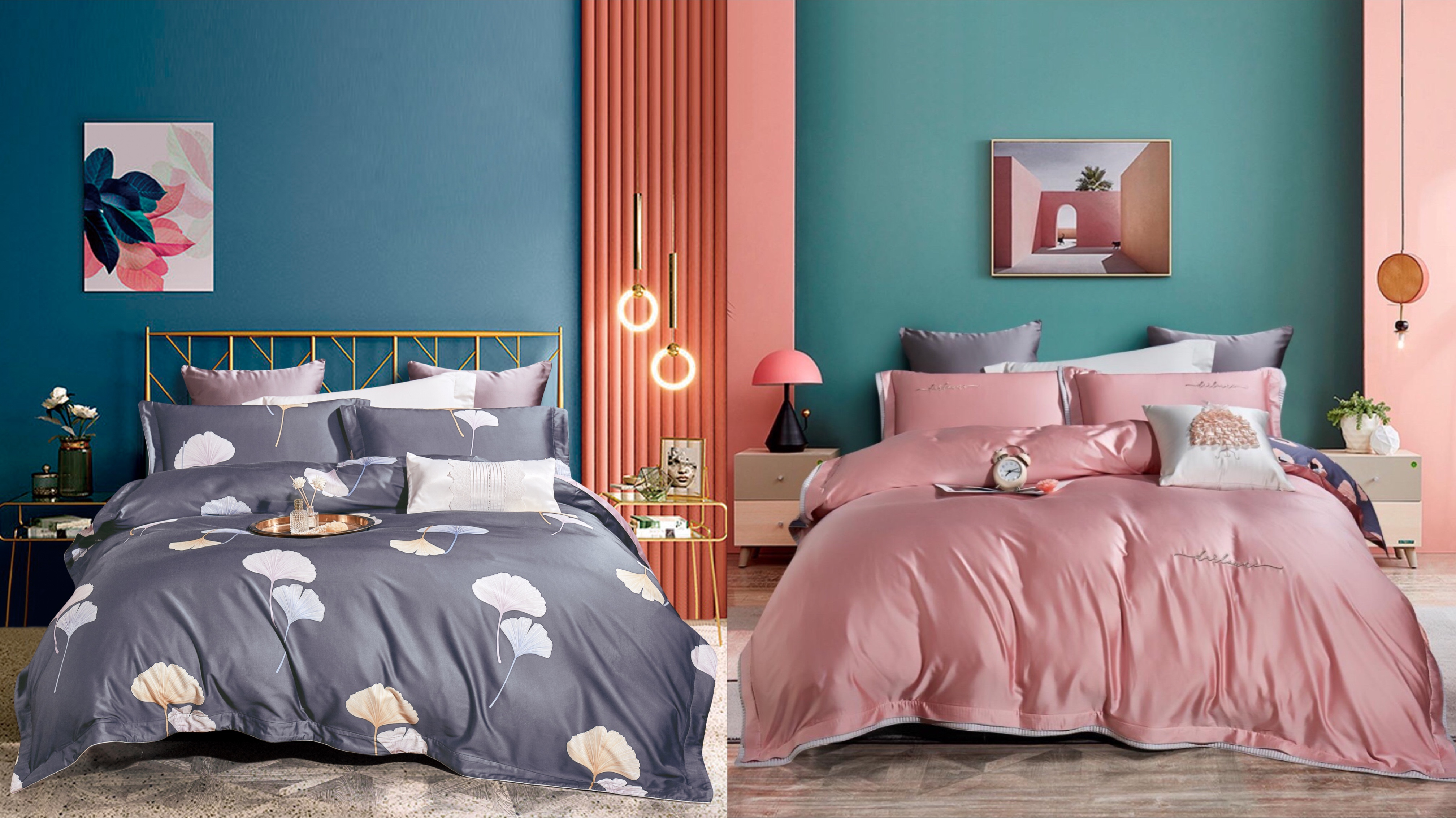 臻棉天絲床蓋雙麵款四件套-富貴銀杏&灰