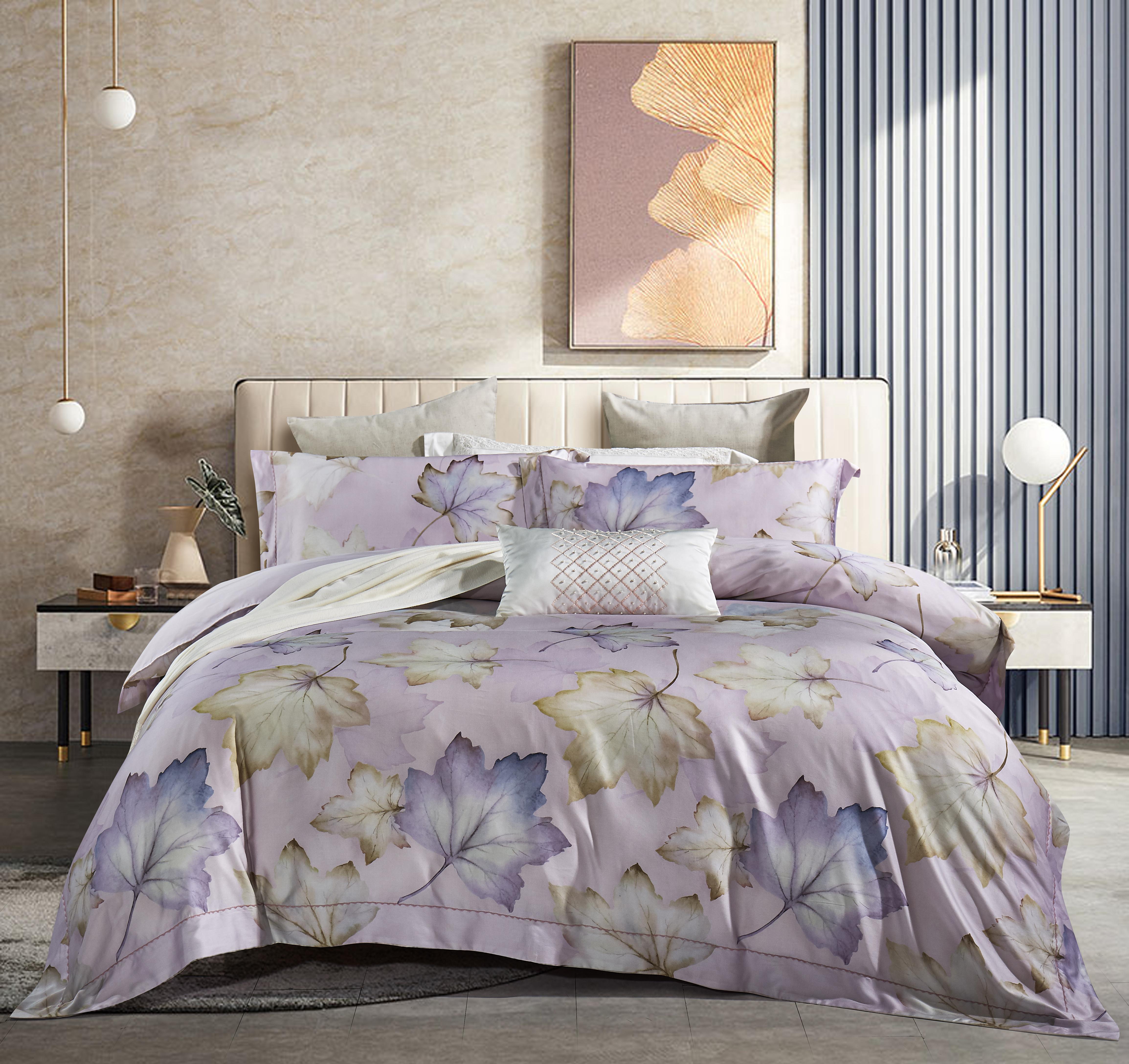 80奢華棉床蓋四件套-楓橋葉泊(紫)