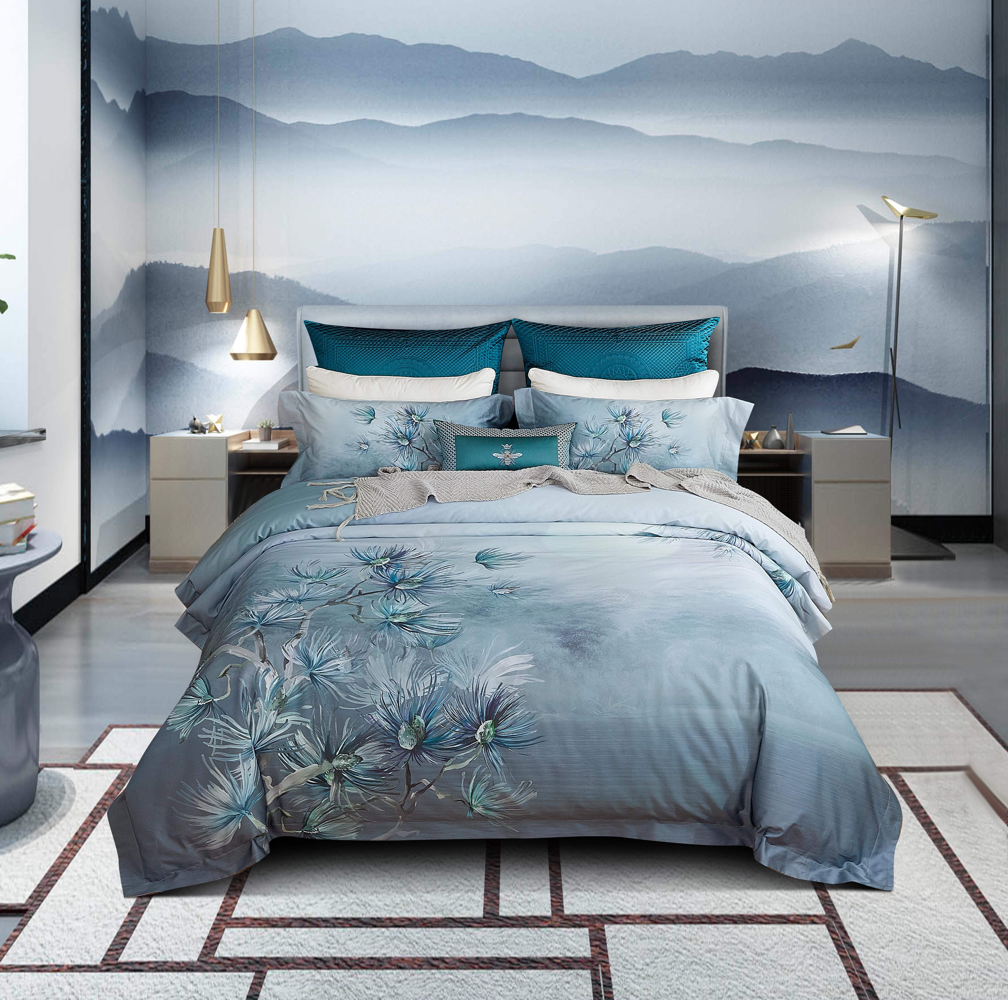 頂級棉錦印花床蓋四件套-輕詩羽葉