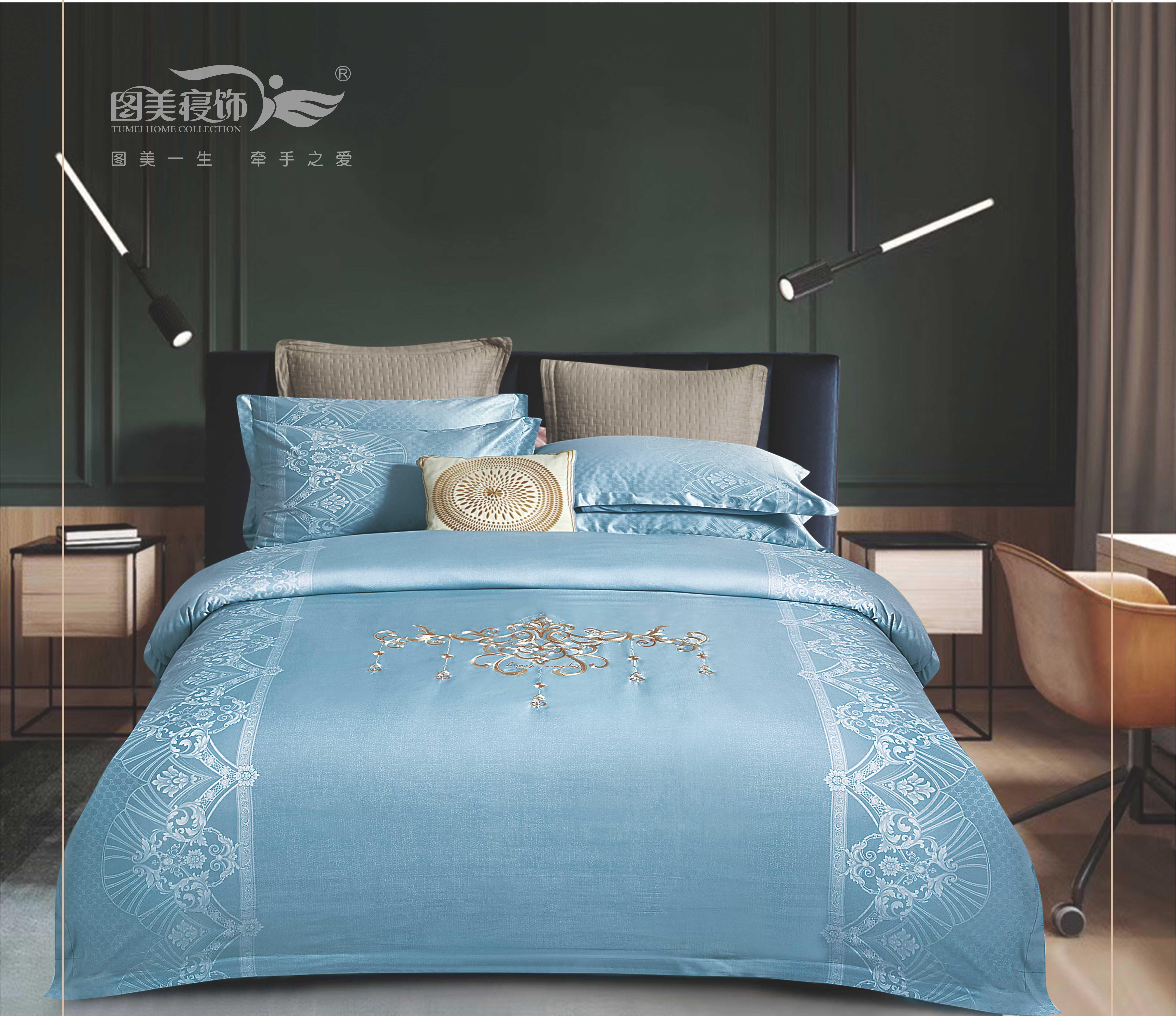 雅帝絲提花床蓋四件套-摩登風範 (天空蘭、魅紫、新貴綠)
