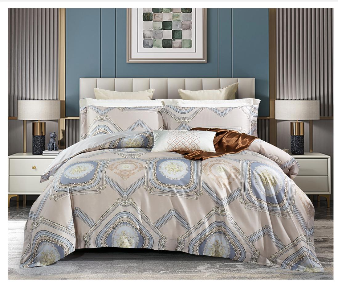 80奢華棉床蓋四件套-簡曼(咖)
