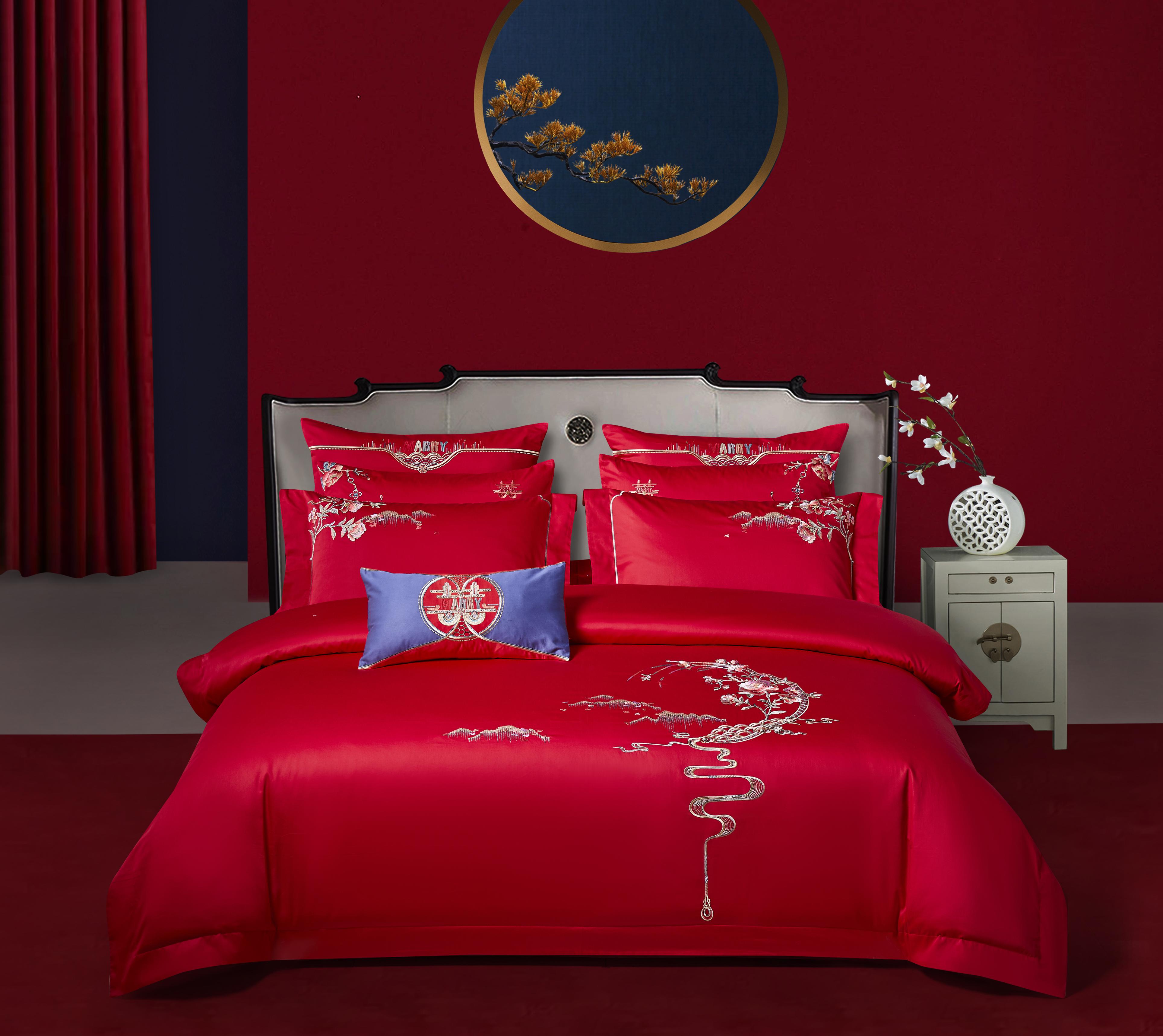 長絨棉素繡床蓋五件套-錦繡榮華