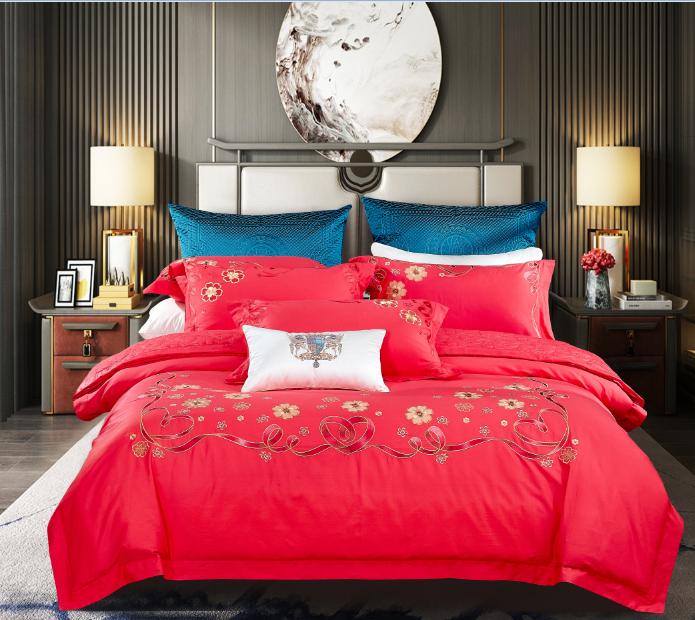 長絨棉素繡床蓋五件套-真愛永恒