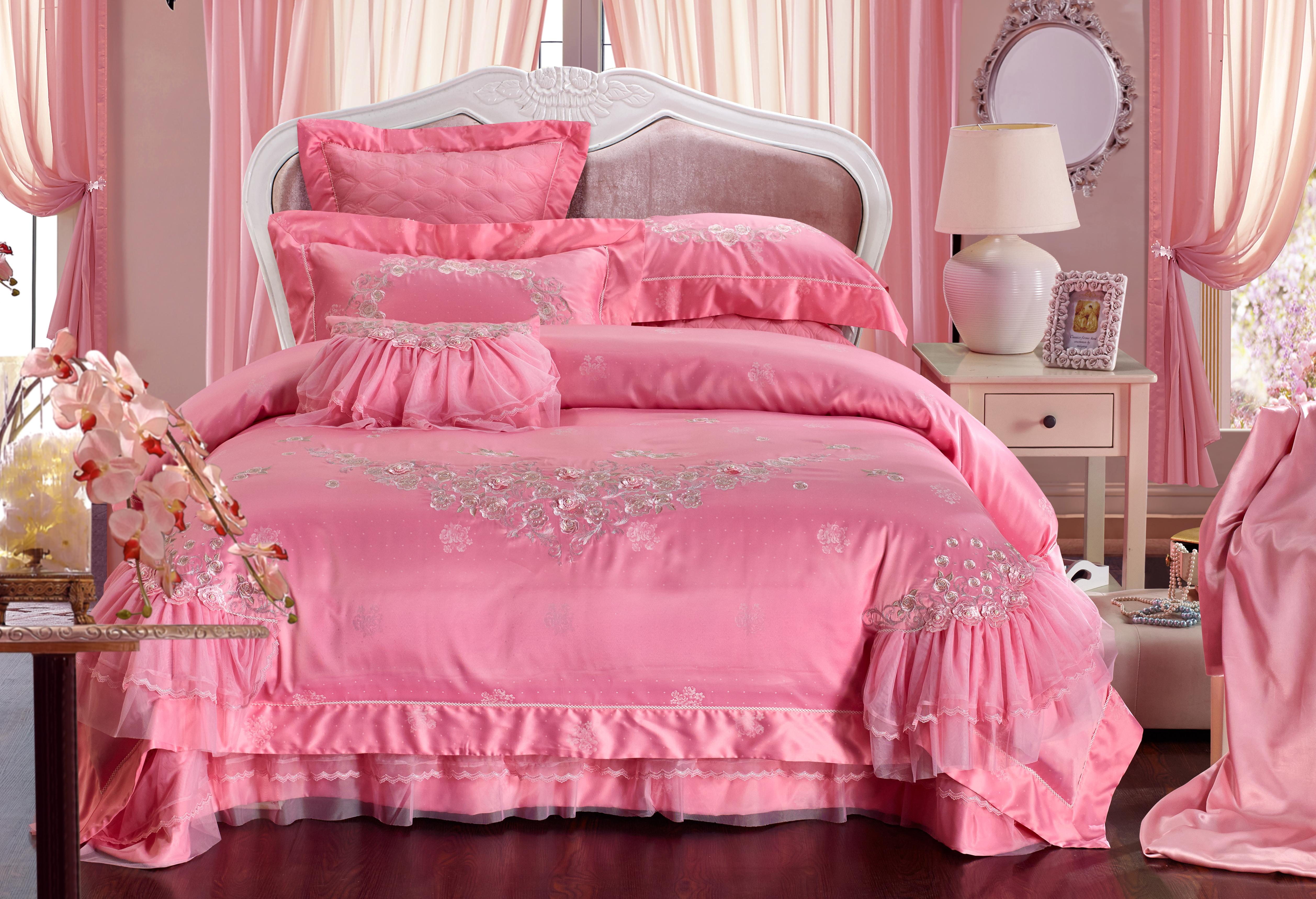 莫代爾提花床蓋七件套-甜言蜜語(粉色)