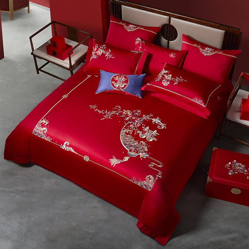 50支全棉貢緞床蓋六件套(賀喜)