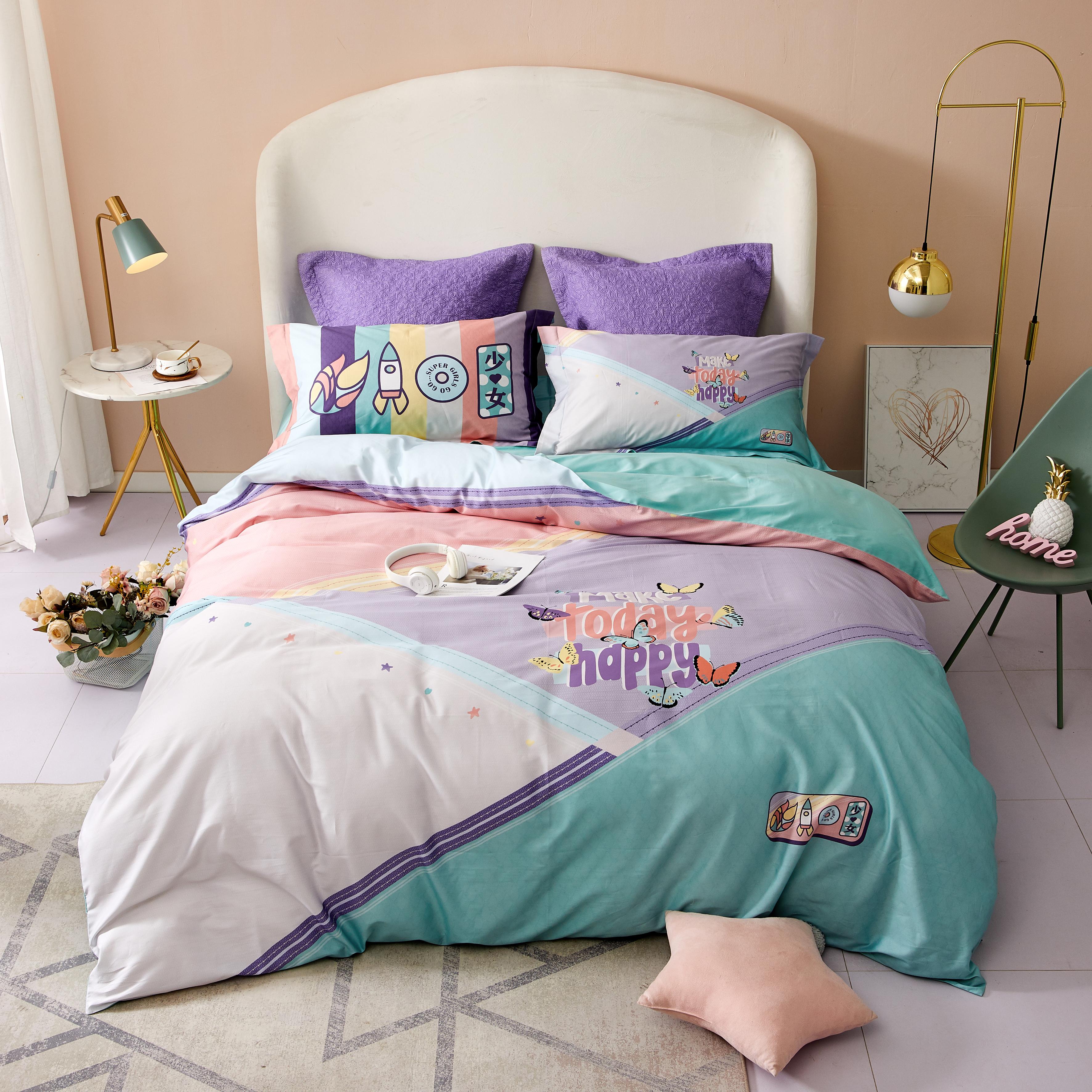60S長絨棉數碼床蓋四件套-普羅旺斯