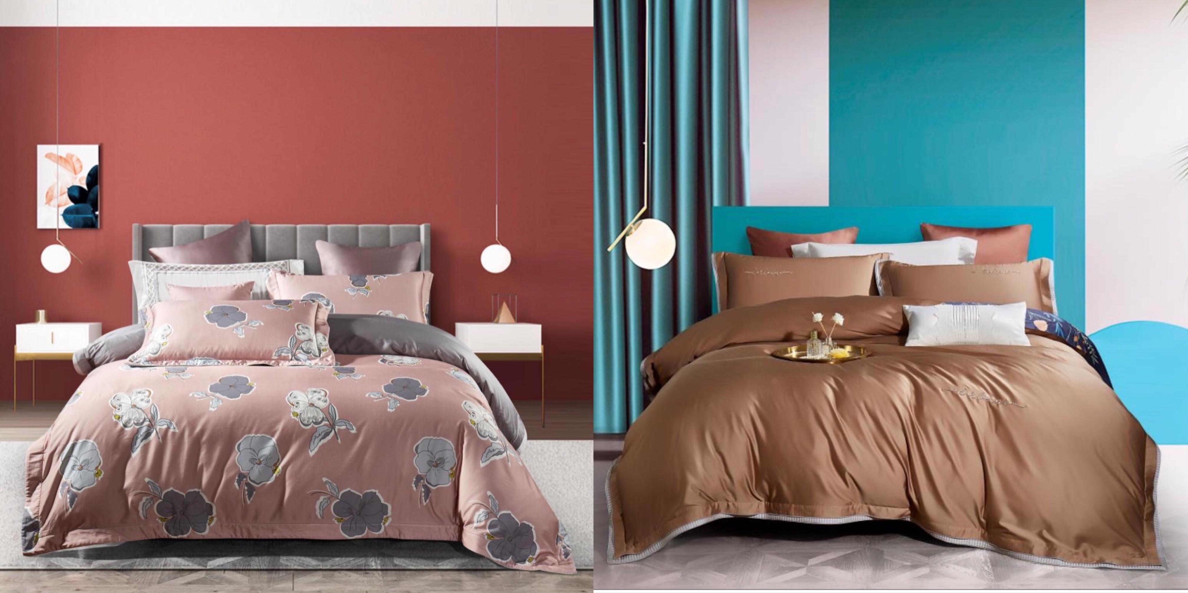 天絲床蓋雙麵款四件套-雲朵&藕粉