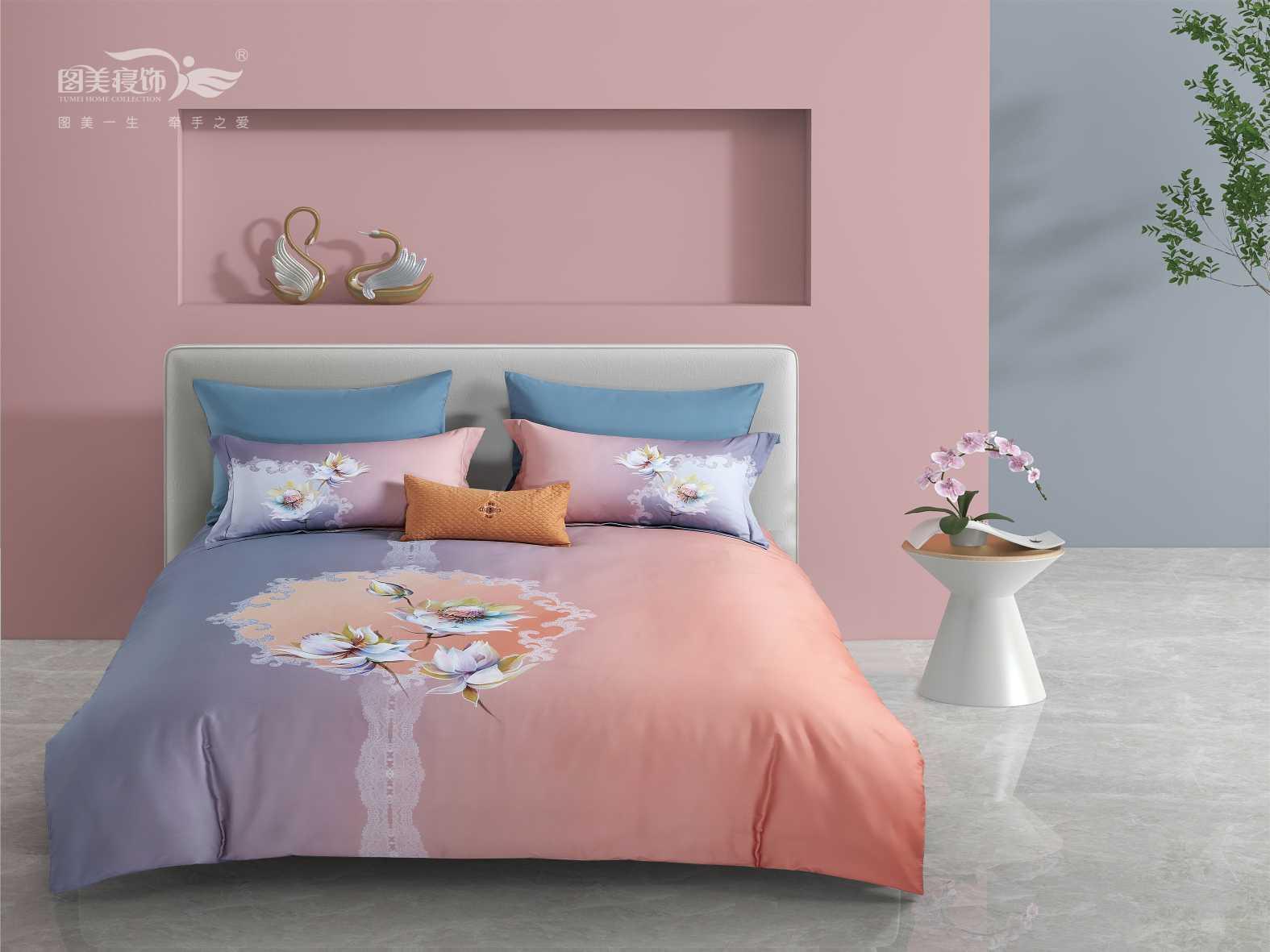 全棉醇淨暖絨床蓋四件套- 夢妝花園